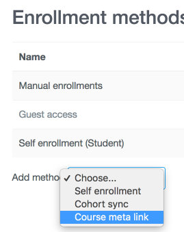 An image of the enrollment methods, with the Course meta link you should select.