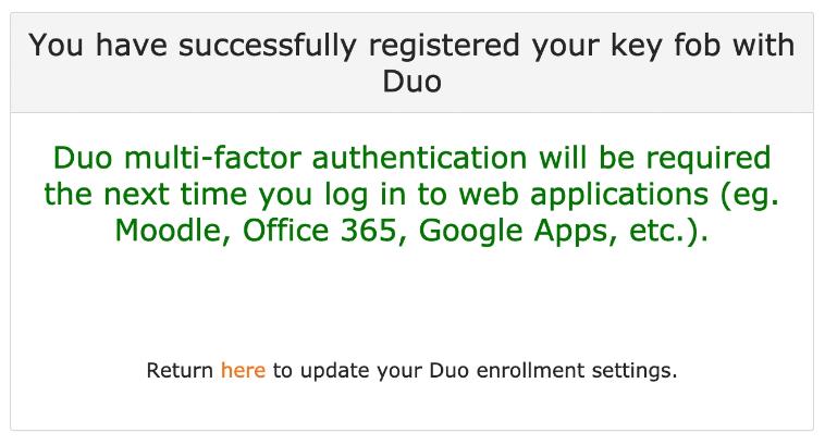 DUO enrollment confirmation screen