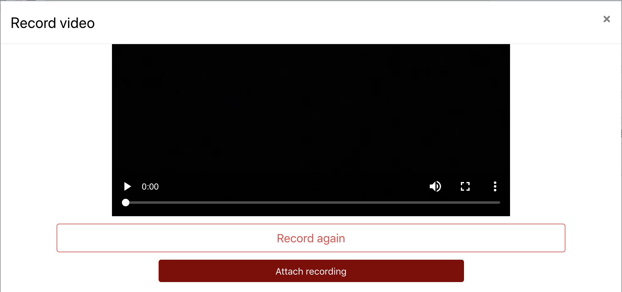 An image of a recorded video, with the record again or attach recording options.