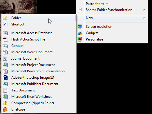 This image shows how to navigate to creating a new folder on your desktop.