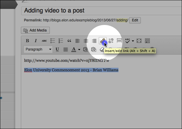 Highlight the video title and click the 'Insert Link' icon