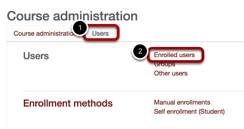 An image of the course administration page, with users circled and labeled 1 and enrolled users circled and labeled 2.