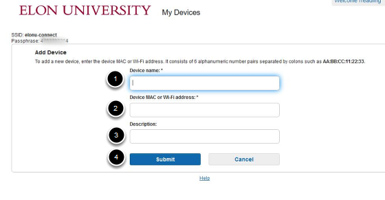 An image of the Add device screen; with 1 as the device name; 2 is the MAC or WiFi address; 3 is the description; and 4 is the submit button.