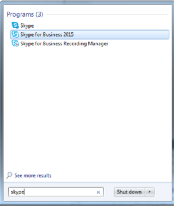 A photo of Skype for Business program in windows