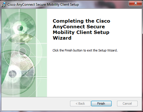 This image says to click finish to complete the installation process