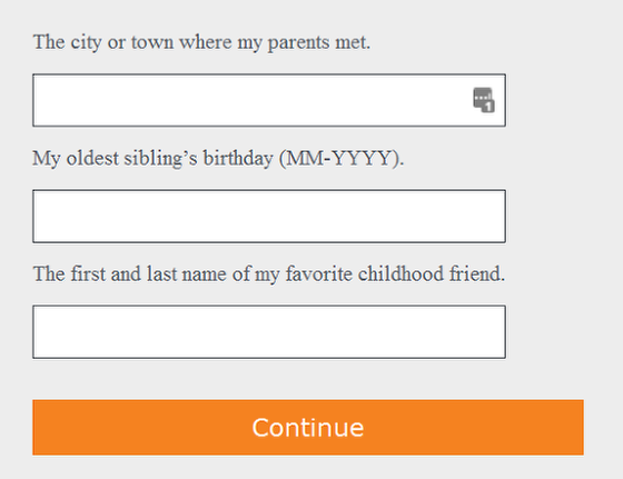Answer your security questions and click continue