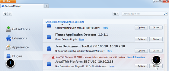 The plugins option (1) and the disable button (2).