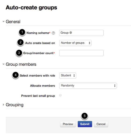 The auto-create groups dialogue, with numbers corresponding to text below the image.
