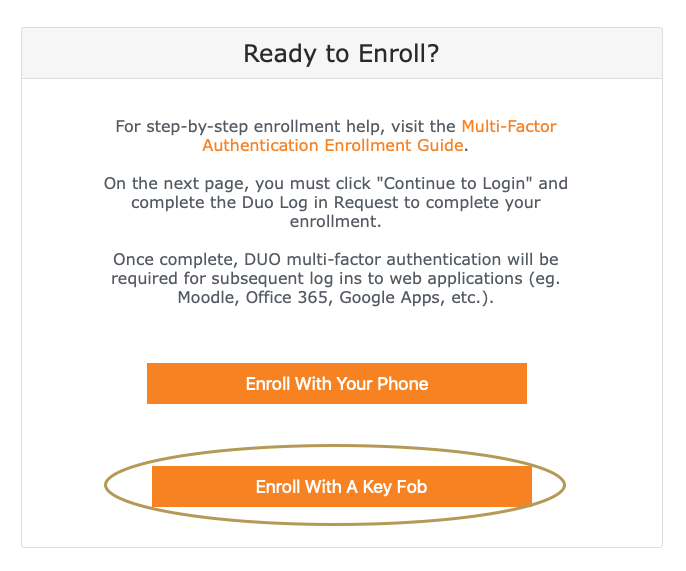 DUO's Ready to Enroll screen for Key Fob