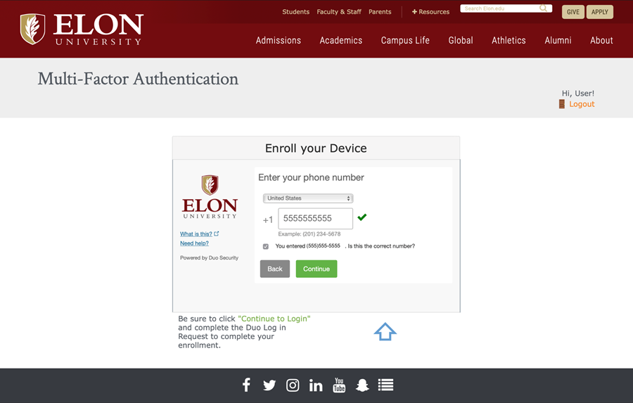 Screenshot of Elon's DUO Self-Service Enrollment Website