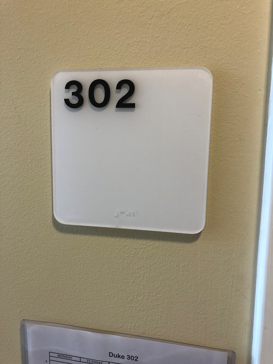 Photo of the room number, 302