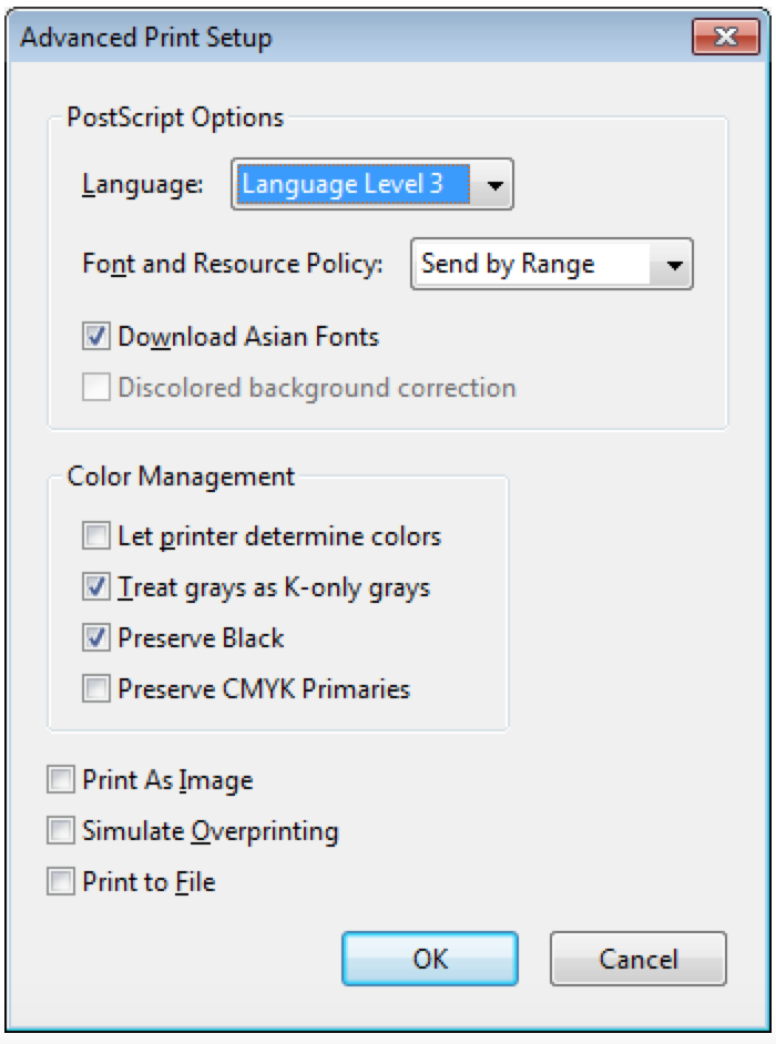 The advanced print setup box that shows the location of the Print As Image checkbox.
