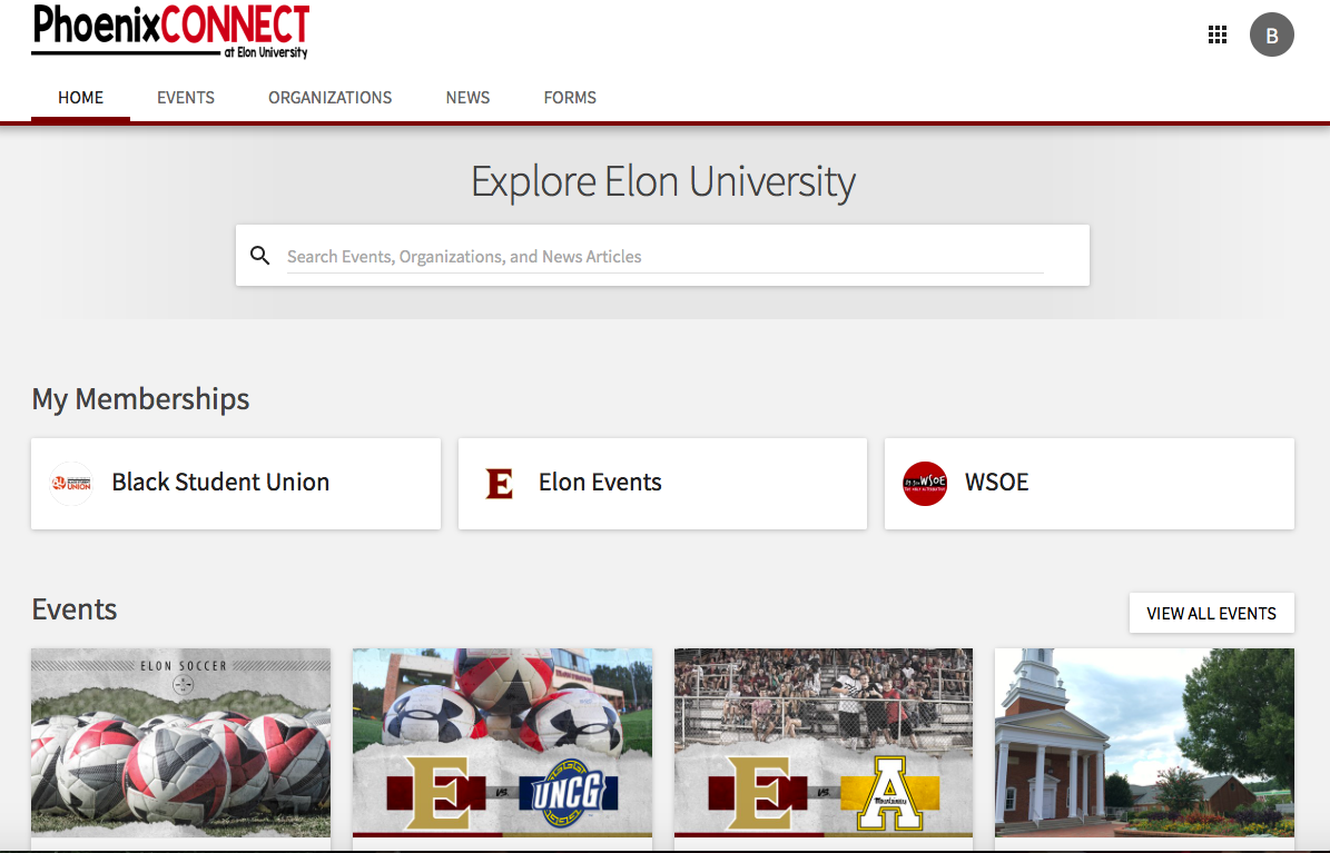 This is an image showing the Upcoming Events section of the PhoenixCONNECT site.