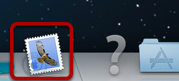An image of the Mac Mail icon, circled.