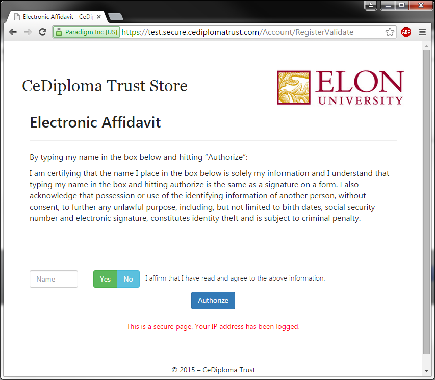 An image of successful CeDiploma authentication