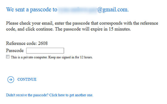 An image of an example passcode message.