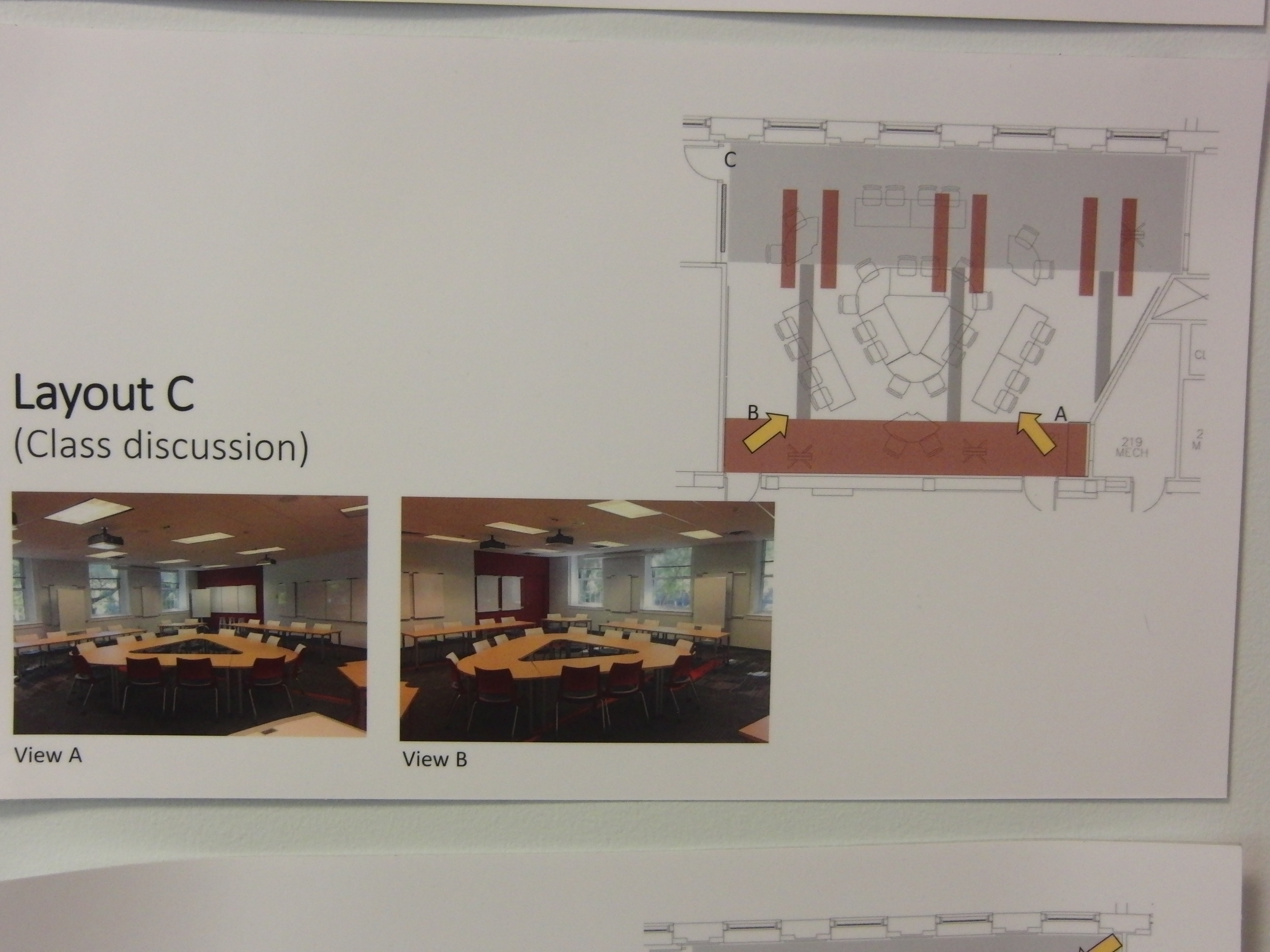 Photo of room configuration for class discussion described as layout c