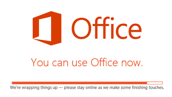 An image of the still installing but you can use office anyway screen.