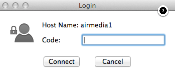 Photo of dialogue box for the AirMedia connection code