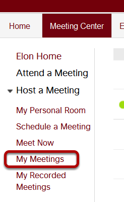 Click My Meetings in order to start your scheduled meeting you are hosting