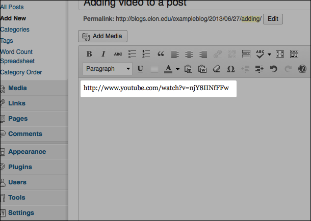 An image of a pasted YouTube link in a blog post.