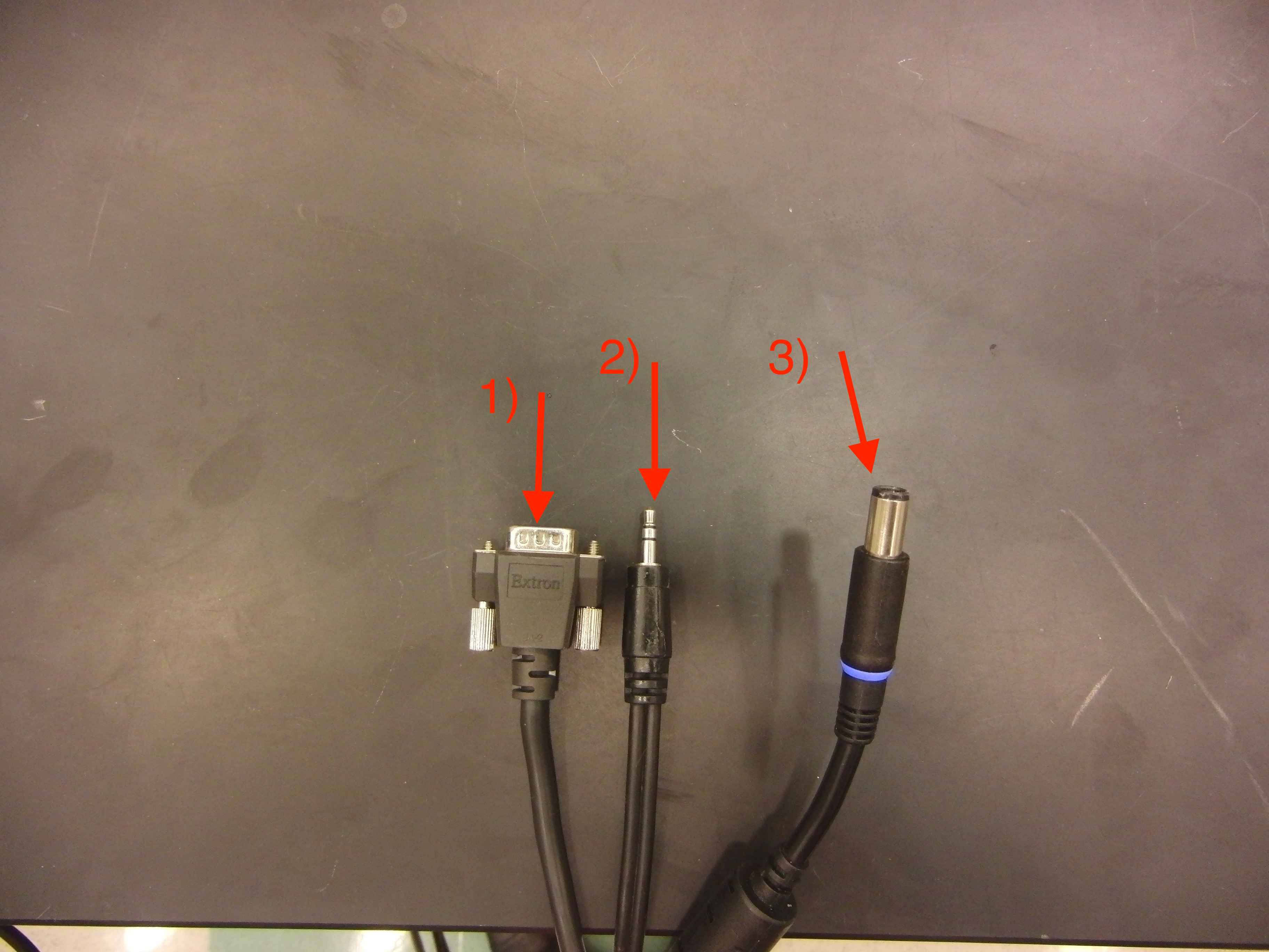Photo of the available cable connections for audio, vga, and power identified by number