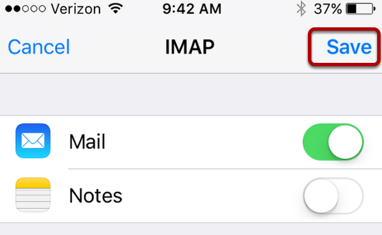 An image of the IMAP screen, with the save button circled.
