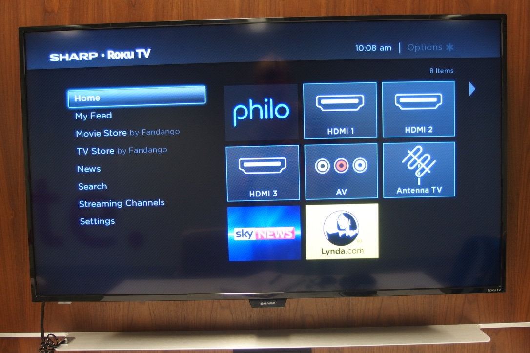A picture of the Sharp Roku TV on the home screen.