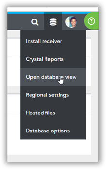 Image of database dropdown.