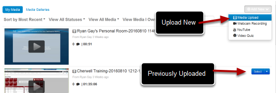 This image has a box that says Upload New pointing to the Media Upload and a box saying Previously Uploaded with an arrow pointing to a video that has been previously uploaded.