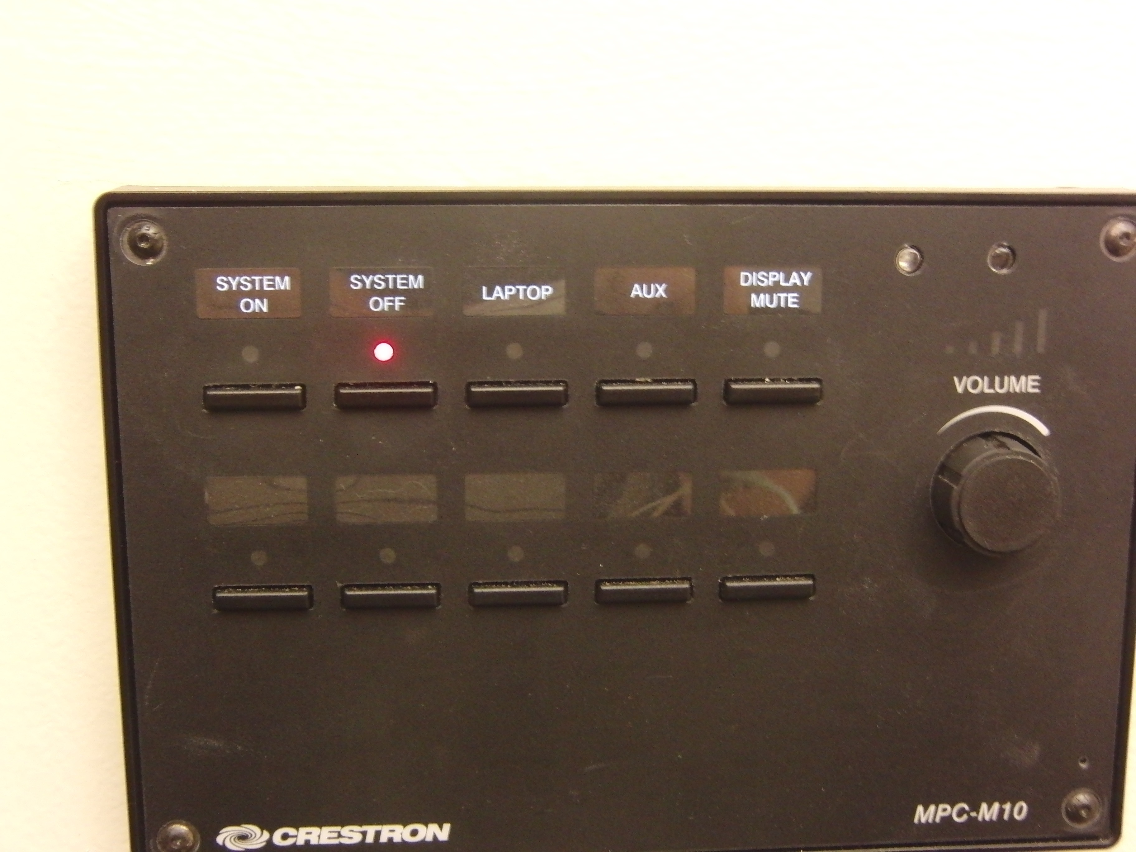 A photo of the control panel.