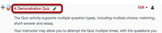 An image of an example quiz, with the name of the quiz circled.