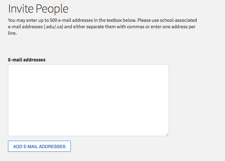 Image of how to add email addresses under Invite People.