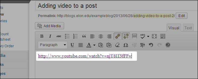 Make sure the video address is not a live link. If the address is purple and underlined, remove the link by highlighting the address and clicking the 'Remove link' icon.