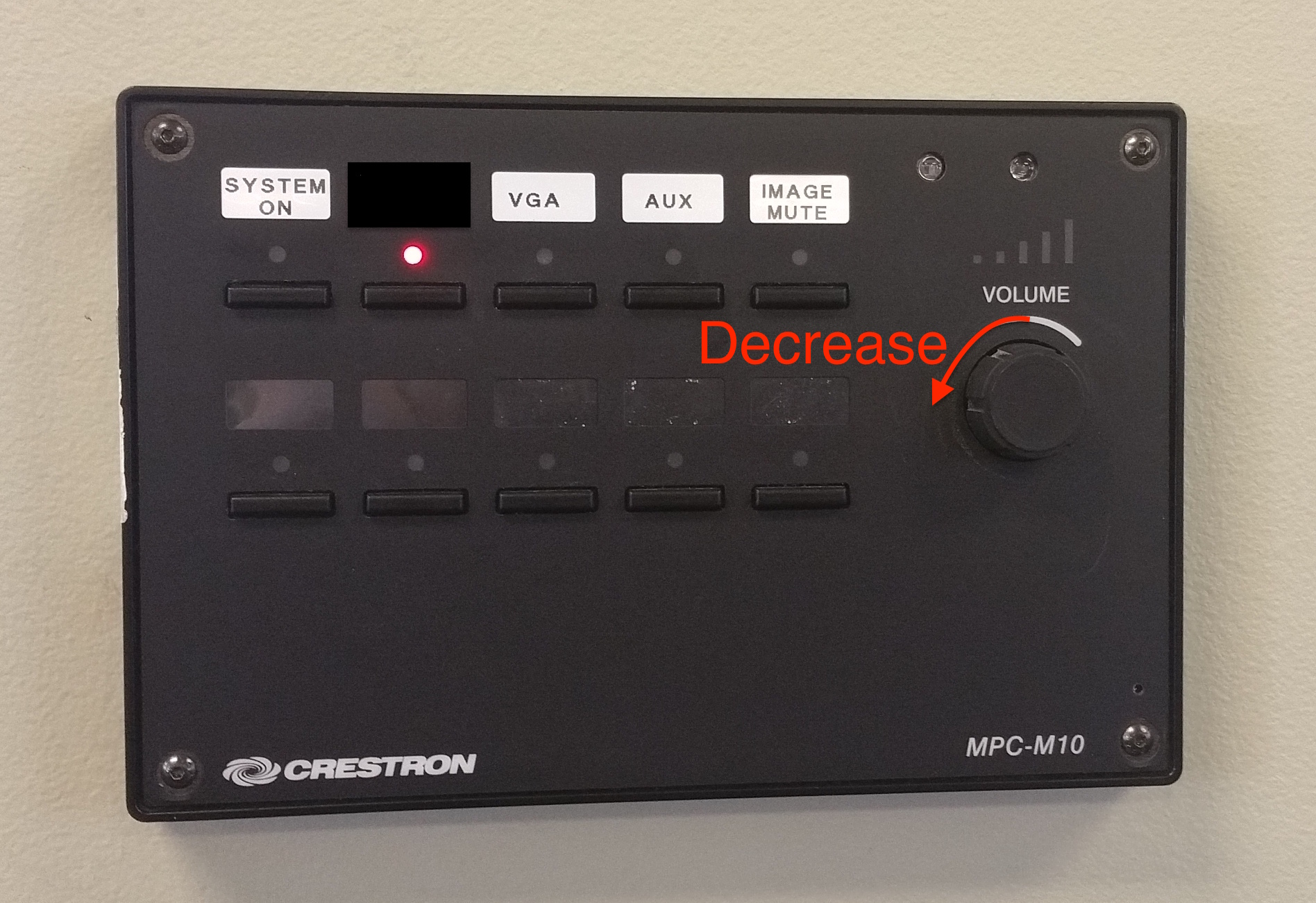 A photo that show the knob to decrease the volume.