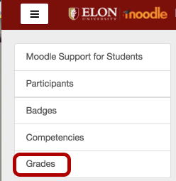 An image of options, with Grades circled.