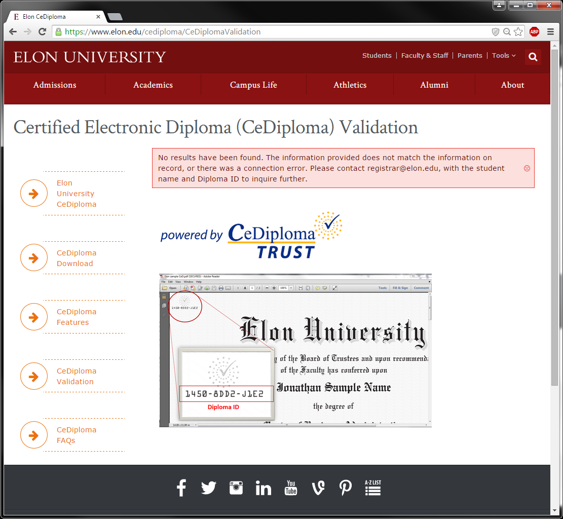 An image of an unsuccessful attempt to validate a CeDiploma.