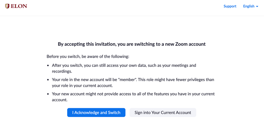 Pop-up requesting user to accept the switch invitation