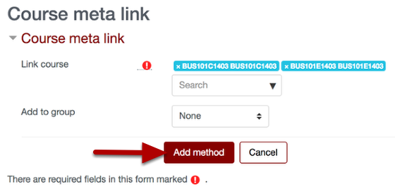 An image of the section with Add method as a button, which has an arrow pointing to it.