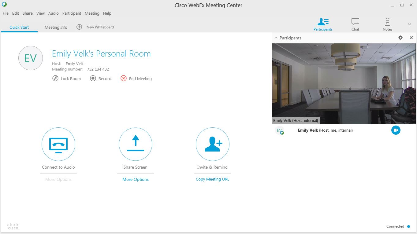 A photo of the webex video windows