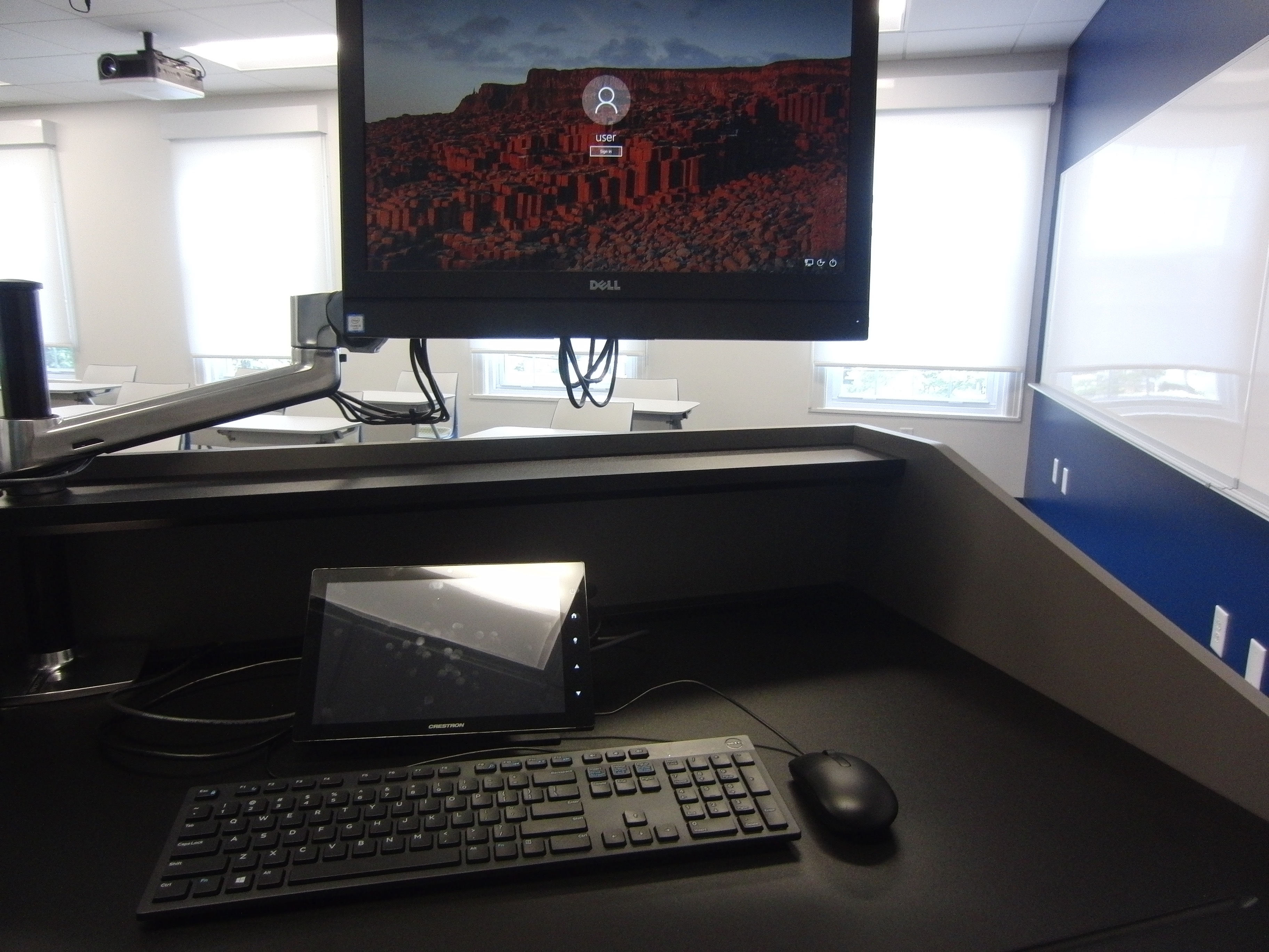 Photo of the dell all in one computer ready for an instructor to log in