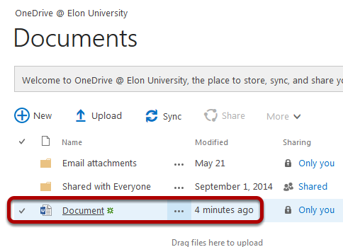 An image of a OneDrive folder, with the newly created document circled.