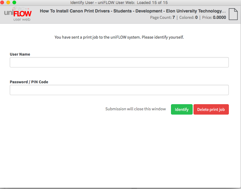 This image shows the uniflow login screen to enter your username and password