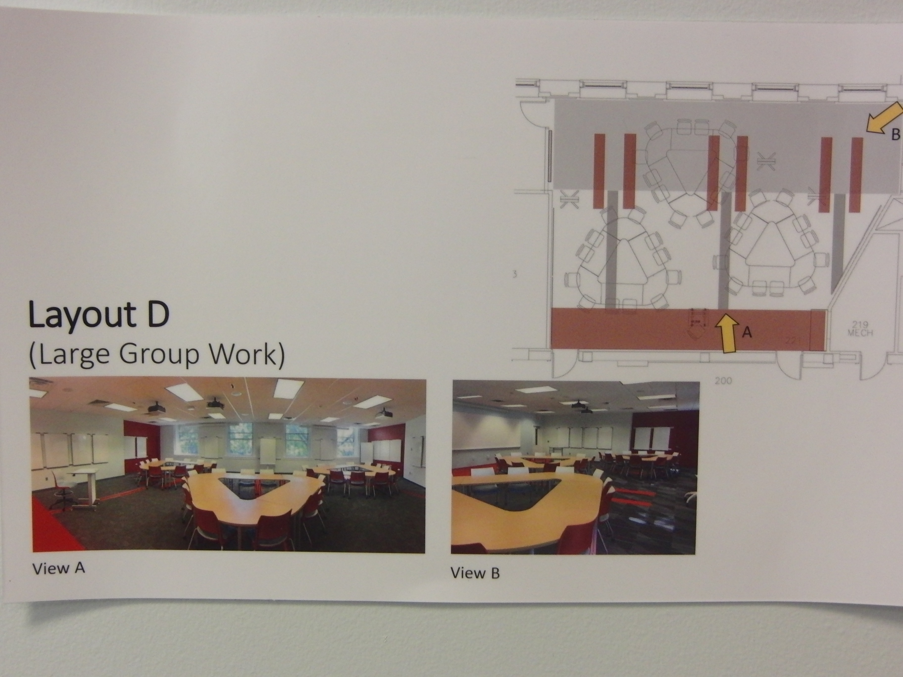 Photo of room configuration for large group work described as layout d