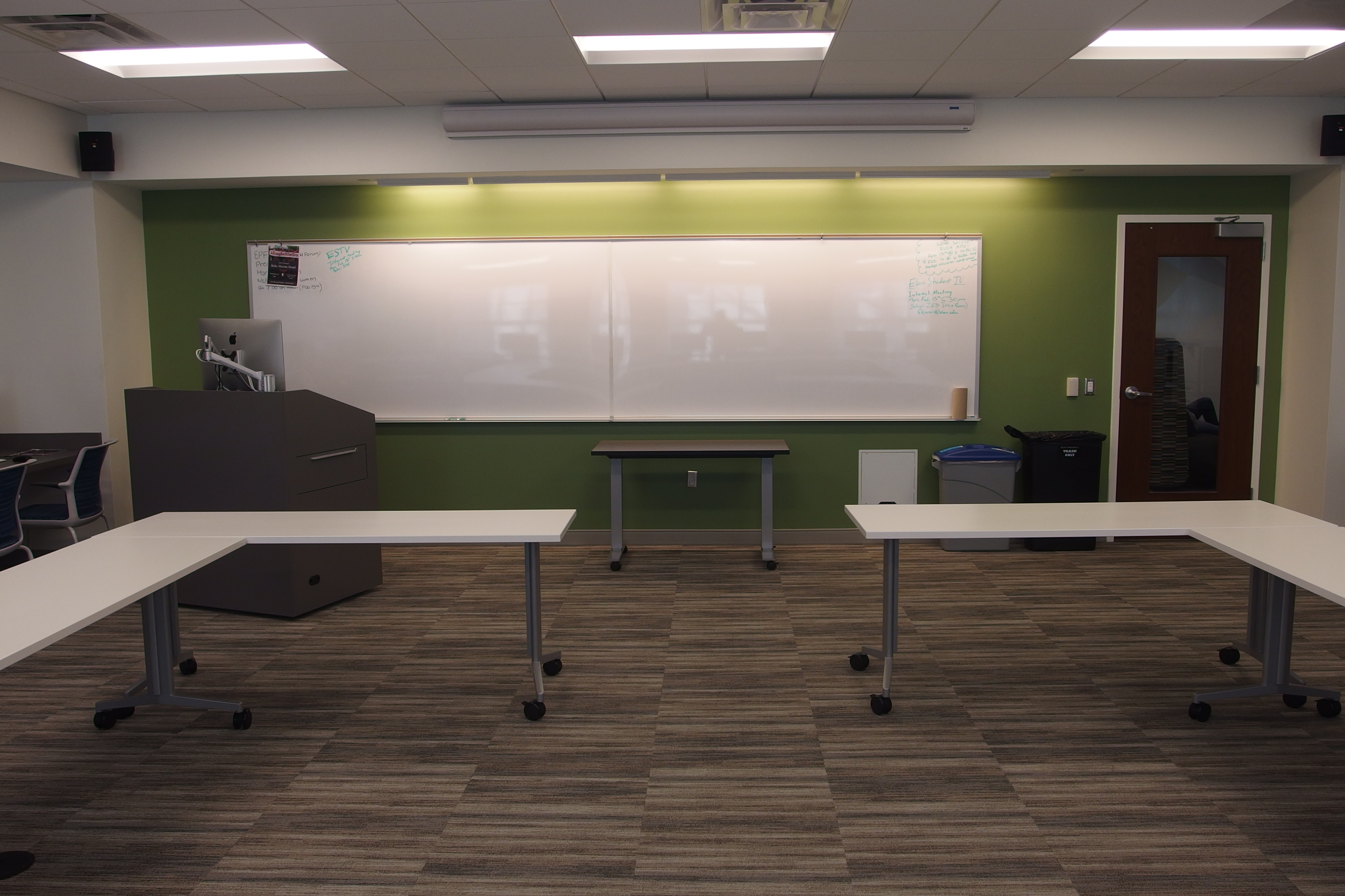 A photo of the front of the room.