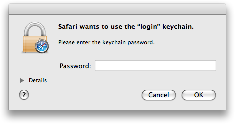 This is the keychain login error message.