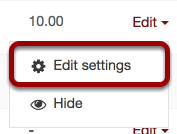 An image showing the edit settings link, which has been circled.