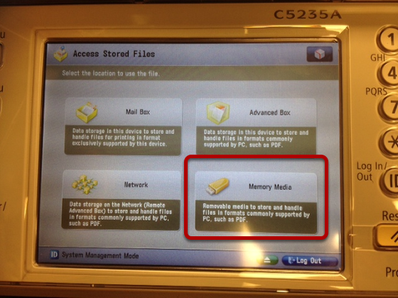 An image of the flash drive options, with Memory Media circled.