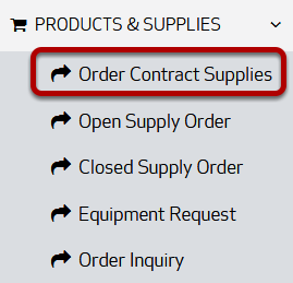 The Products & Supplies menu, with Order Contract Supplies circled.