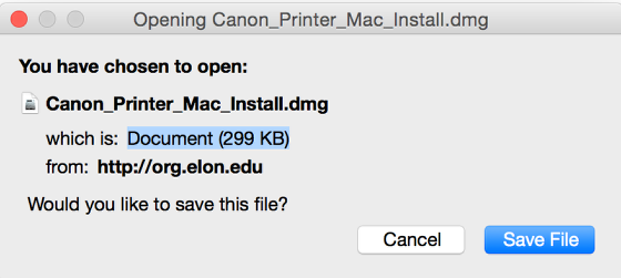 This is an image of the Mac Canon install file.